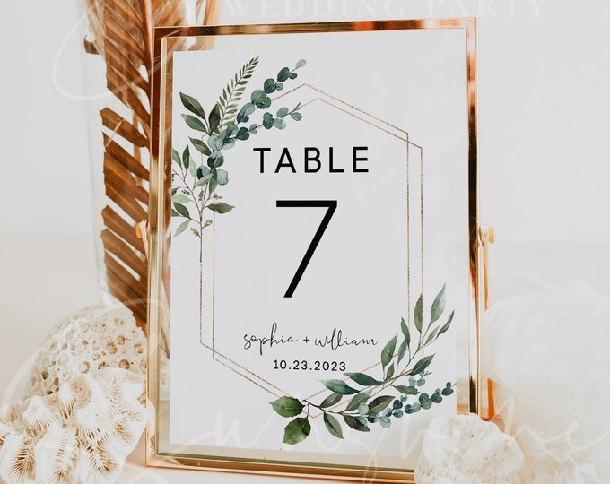 Greenery Wedding Table Number Sign Template, Printable Wedding Table Number Card Template, Editable Template, Instant Download, Templett, G5