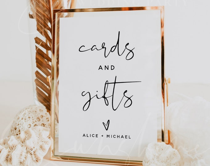 Cards and Gifts Sign Template, Wedding Cards and Gifts Signs, Printable Signs, Baby Shower, Bridal Shower, Instant Download, Templett, M8