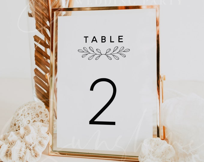 Wedding Table Number Template, Floral Table Numbers, Modern Rustic Table Numbers Printable, Clean Table Number Cards Instant Download M9