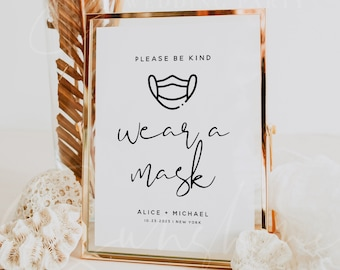 Wear a Mask Sign, Wedding Signs, Baby Shower Signs, Bridal Shower Signs, Printable Signs, Sign Template, Instant Download, Templett, M8