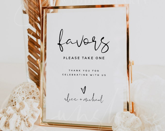 Favors Sign Template, Wedding Minimalist Favors Signs, Printable Favors Sign Template, Wedding Favors Signs, Instant Download, Templett, M8