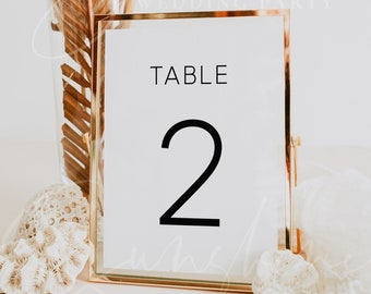 Wedding Table Number Template, Simple Table Numbers, Modern Minimalist Table Numbers Printable, Clean Table Number Cards Instant Download M9