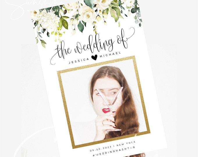 White Floral Wedding Photo Prop Frame Photo Booth Frame Sign Bridal Shower Selfie Frame Prop Editable Printable Template INSTANT Templett F7