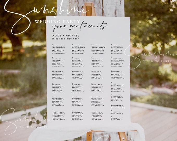 Wedding Alphabetical Seating Chart Template, Printable Seating Plan, 100% Editable, Modern Wedding Sign, Minimalist, Instant, Templett, M3