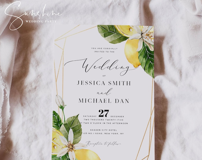 Lemon Wedding Invitation Template, Wedding Invitation, Summer Wedding Invitation Template, Printable Template, Instant Download, Templett L1