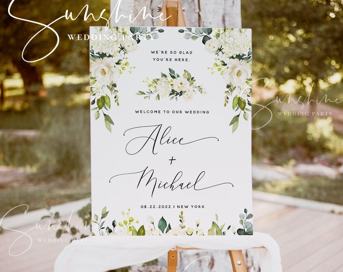 White Floral Wedding Welcome Sign Template, Printable Welcome Sign, 100% Editable Sign, Rustic Wedding Sign, Instant Download, Templett, F7