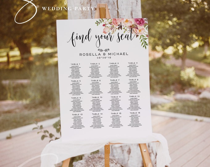 Find Your Seat Sign Floral Wedding Seating Chart Sign Script Font Seating Chart Template Seating Board Instant Download Seating Sign Board