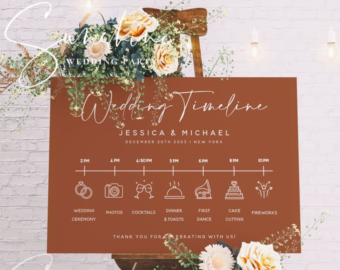 Terracotta Wedding Itinerary Sign Template, Modern Wedding Timeline Sign Template, Minimalist Wedding Timeline Sign, Instant, Templett, T1