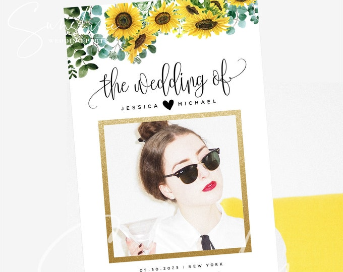 Sunflower Greenery Wedding Photo Prop Booth Frame Template Selfie Frame Sign Prop Frame Editable Printable Template INSTANT Templett F13