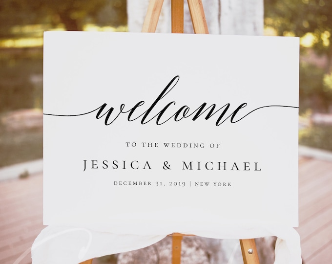 Wedding Welcome Sign Template Printable Calligraphy Welcome Sign Rustic Wedding Welcome Sign 100% Editable Sign Instant Download Templett R2