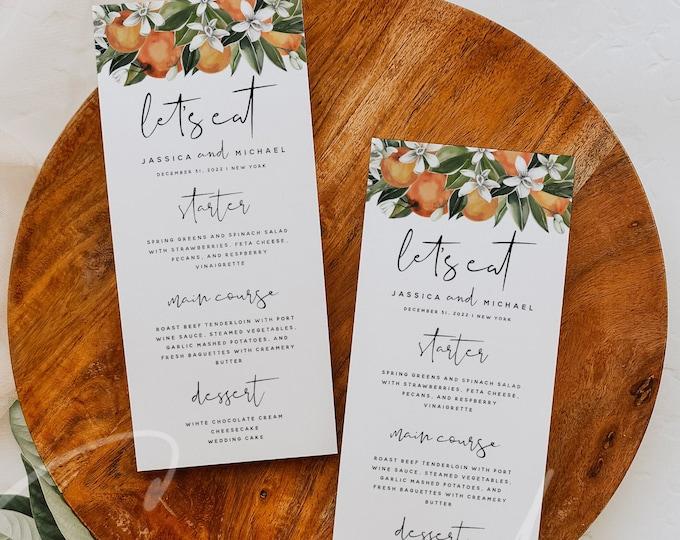 Citrus Wedding Menu Template, Orange Wedding Dinner Menu, Printable Menu, Digital Download, Reception Dinner Menu, 100% Editable, DIY, C2