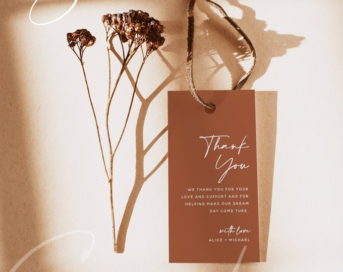 Terracotta Favor Tag Template, Thank You Tag, Favor Tag, Bridal Shower, Wedding, Baby Shower, Editable Text, Instant Download Templett, T1