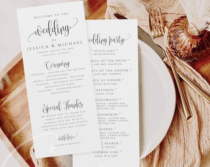 Wedding Program Template Ceremony Program Template Order of Events Program Templates INSTANT DOWNLOAD Fully Editable Printable Templett R1