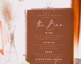 Terracotta Wedding Bar Sign Template, Modern Menu Bar Sign Template, Instant Download, Editable Bar Sign, Wedding Sign, Menu Bar Sign, T1