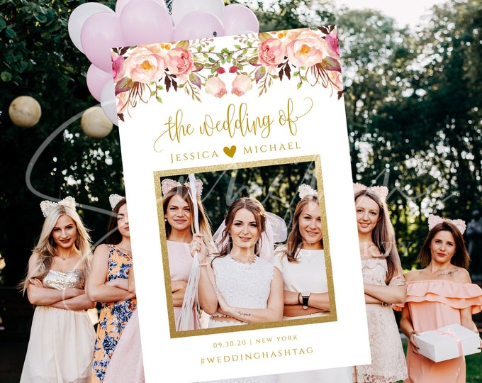 Marsala Photo Prop Frame Photo Booth Frame Wedding Bridal Shower Birthday Selfie Frame Prop Editable Printable Template INSTANT Templett F4