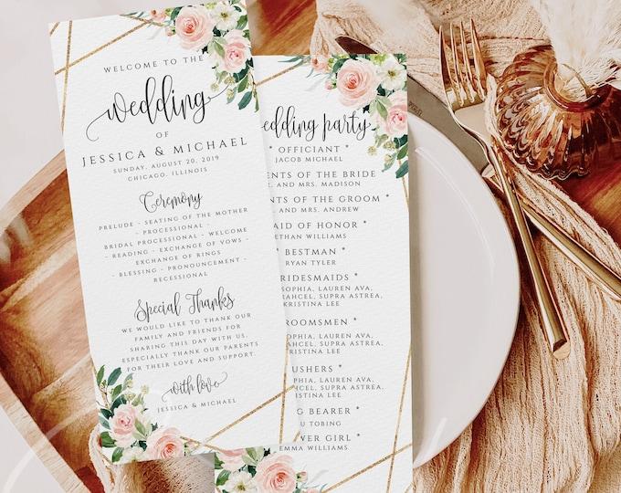 Wedding Program Template Ceremony Program Template Boho Blush Florals Program Template INSTANT DOWNLOAD Fully Editable Printable Templett F5