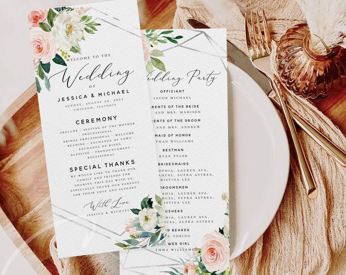 Wedding Program Template Ceremony Program Template Boho Blush Floral Program Template INSTANT DOWNLOAD Fully Editable Printable Templett F5B