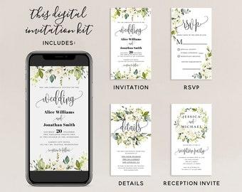 Electronic Wedding Invitation Kit Template, Digital Invitation Suite, White Floral Wedding Invitation Template, Editable Invite, Templett F7