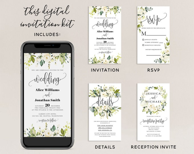 Electronic Wedding Invitation Kit Template, Digital Invitation Suite, White Floral Wedding Invitation Template, Editable Invite, Templett F7