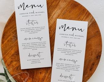 Modern Wedding Menu Template, Minimalist Wedding Dinner Menu, Printable, Digital Download, Reception Dinner Menu, 100% Editable, DIY, M8