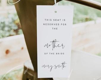 Wedding Seating Tag, Minimalist Reserved Seating Template, Modern Printable Chair Tags, Editable Chair Tag Template, Reserved Wedding Tag M8