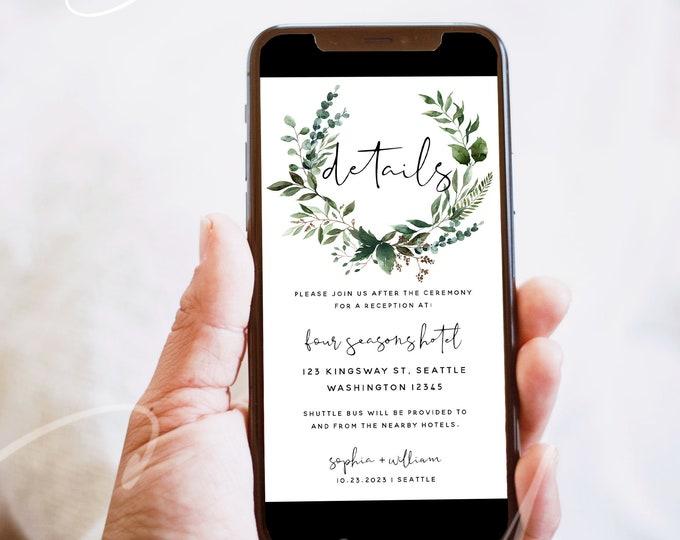 Electronic Wedding Details, Greenery Wedding Digital Accommodation, Text Email Invitation, Wedding Invitation, Instant Download, Templett G5