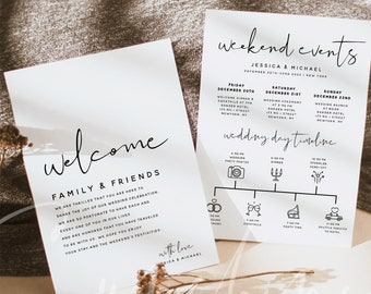 Wedding Welcome Letter & Itinerary Template, Weekend Events Timeline, Minimalist Timeline, Order of Events, Instant Download, Templett, M8