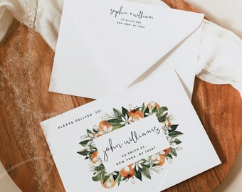 Wedding Envelope Template, Citrus Orange DIY Wedding A7 A6 A1 Envelope, Printable Envelope, Editable Envelope Template, Instant Download, C2