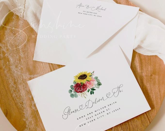 Sunflower Burgundy Envelope Template Wedding Editable DIY Printable Wedding Envelope A7 A6 A1 Envelope Address Template Instant Templett F12