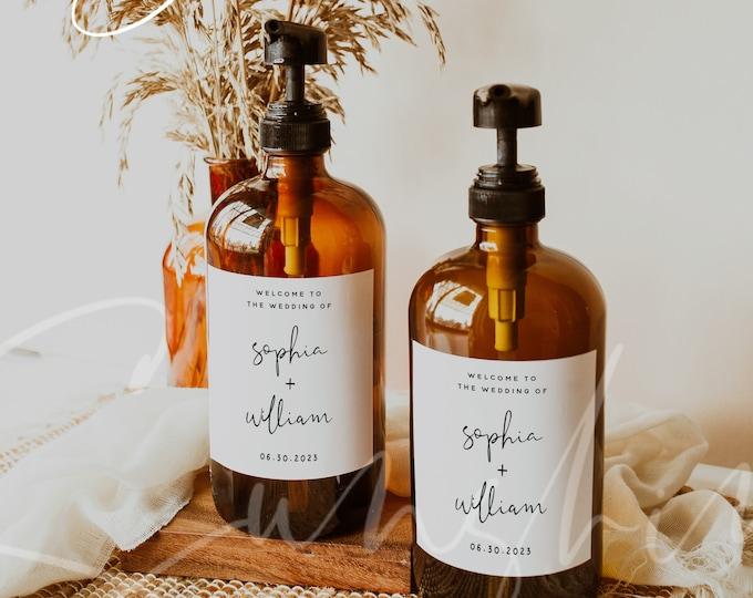 Hand Sanitizer Labels Template, Minimalist Modern Wedding, Printable Hand Sanitizer Labels, Editable Labels, Instant Download, Templett, M8