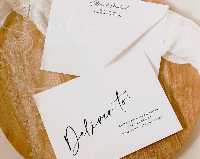 Modern Wedding Envelope Template, DIY Printable Wedding Envelope, A7, A6, A1, DIY Editable Envelope Address Template, Instant, Templett, M3