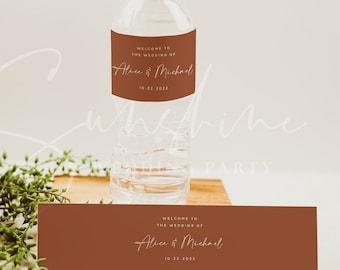 Terracotta Wedding Water Bottle Label Template, Modern Printable Labels, DIY Wedding Label, Editable Labels, Instant Download, Templett, T1