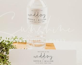 Wedding Water Bottle Label Template, Printable Water Bottle Labels, DIY Wedding Labels, Editable Labels, Instant Download, Templett, M8