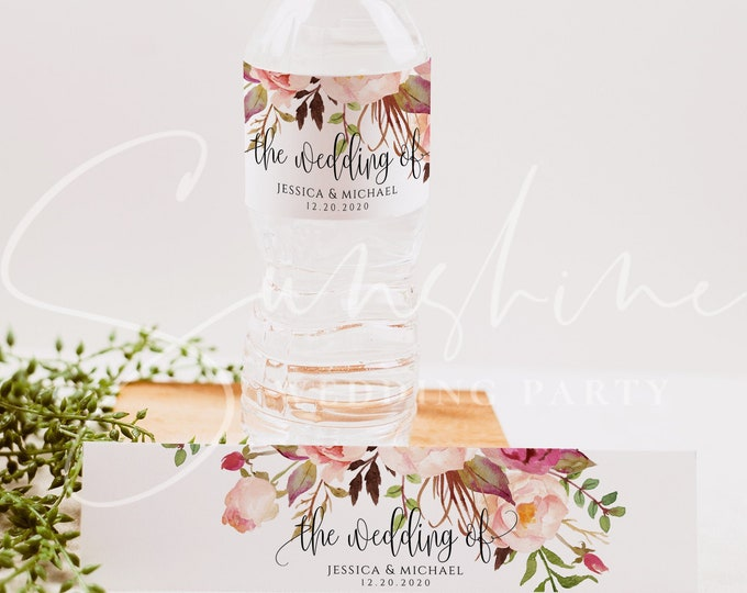 Wedding Water Bottle Label Template, Printable, Marsala Floral Labels, DIY Wedding Label, Instant Download, 100% Editable Text, Templett, F4