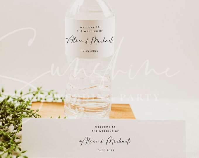 Modern Wedding Water Bottle Label Template, Minimalist Printable Labels, DIY Wedding Label, Editable Labels, Instant Download, Templett, M3