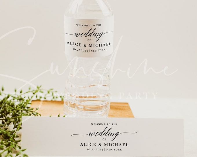 Modern Wedding Water Bottle Label Template, Minimalist Printable Labels, DIY Wedding Label, Editable Labels, Instant Download, Templett, R2
