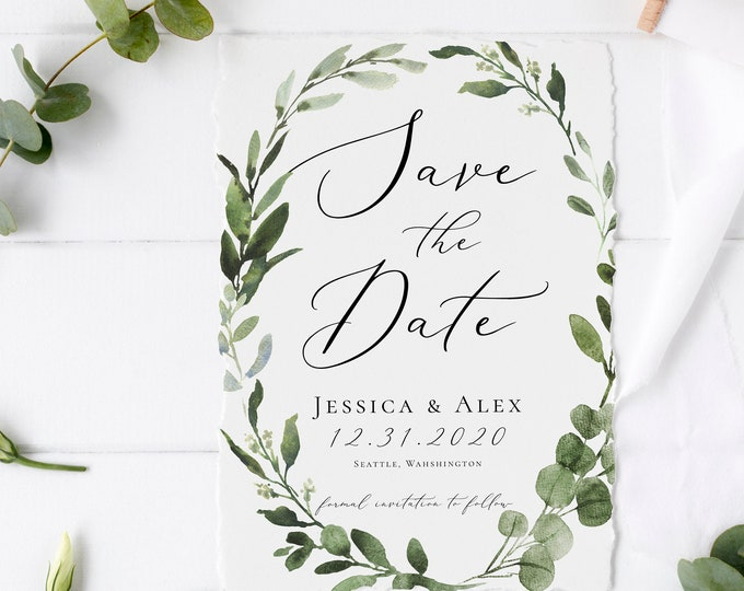 Save the Date, Greenery Invitation Template, Eucalyptus Greenery, Printable Invitation, INSTANT DOWNLOAD, Editable Text, DIY, Templett, G3