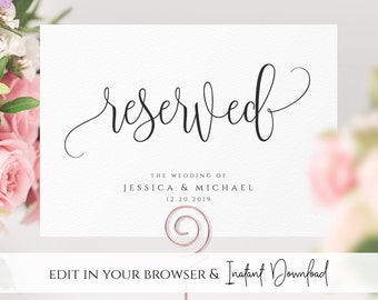 Reserved Wedding Ceremony Seating Sign Reserved Chair Sign Template DIY Wedding Ceremony Reserved Seat Sign INSTANT DOWNLOAD Template R1