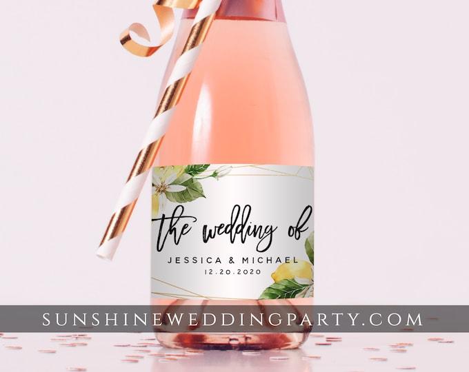 Mini Champagne Bottle Label Template, Rustic Lemon Wedding / Bridal Shower Favor, Editable Text, Printable, Instant Download, Templett, L1