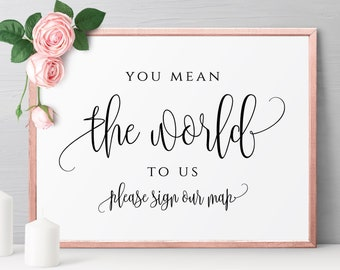 You Mean the World to Us Sign Template Wedding Sign Printable Editable Sign Template Wedding Sign Template Sign Instant Download Templett R1
