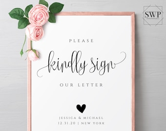 Please kindly sign our letter Sign Template Wedding Signs Ceremony Sings Printable Signs Editable Signs Wedding Instant Download Templett R1