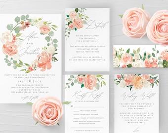 Peach Floral Wedding Invitation Template Printable Editable Wedding Invitation Suite Template Kit Templett Wedding Invitation Template F1
