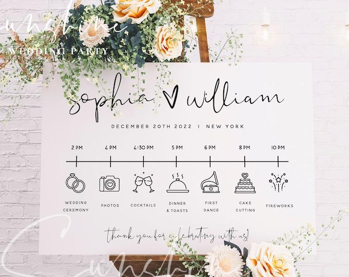 Wedding Itinerary Sign Template, Minimalist Timeline Sign Template, Wedding Order of Events Sign Template, Instant Download, Templett, M8