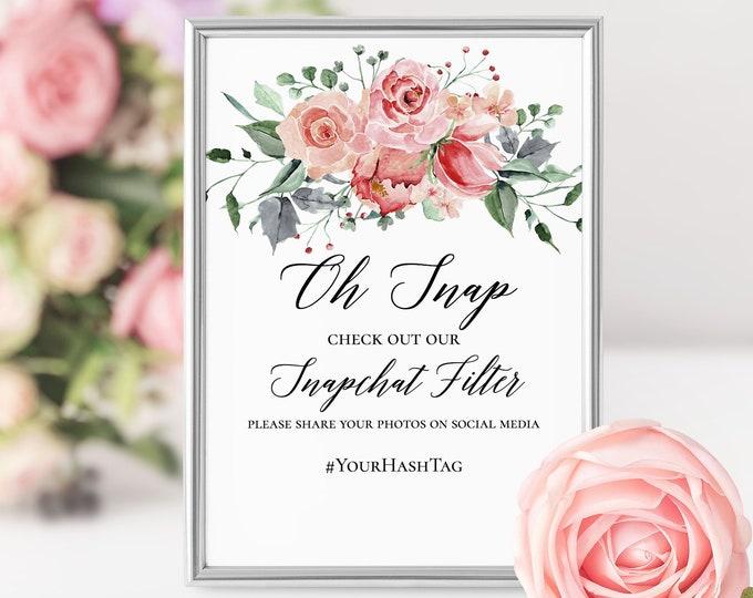 Marsala Pink Floral Wedding Snapchat Sign Wedding Snapchat Geofilter Sign Pink Wedding Snapchat Wedding Geofilter Wedding Sign Floral Sign