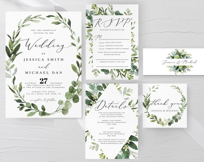 Greenery Wedding Invitation Suite Template, Eucalyptus Wedding Invitation Kit, Printable Invitation, Editable Invite, Instant Download, G3