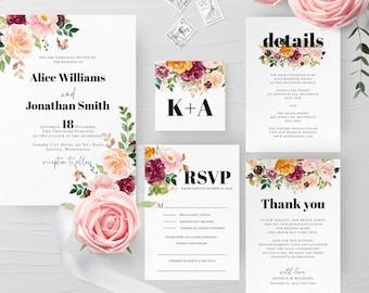 Burnt Orange Wedding Invitation Suite Template Floral Wedding Invite Kit Printable Editable Wedding Invitation INSTANT DOWNLOAD Templett F8