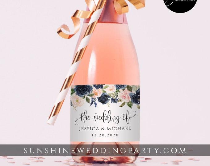 Mini Champagne Bottle Label Template, Wedding / Bridal Shower Favor Sticker, 100% Editable Text, Printable, Instant Download, Templett, F6