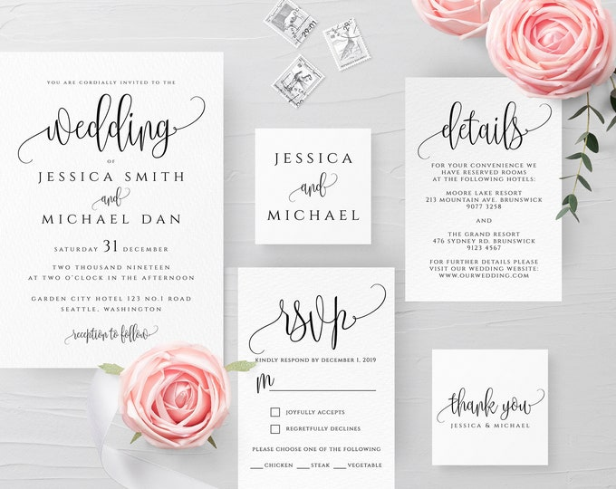 Modern Wedding Invitation Set, Calligraphy, Simple, Minimalist, Clean, RSVP, Details, Editable Template, Instant Download, Templett, R1