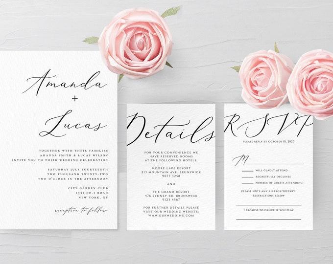 Modern Wedding Invitation Set, Calligraphy, Simple, Minimalist, Clean, RSVP, Details, Editable Template, Instant Download, Templett, R3