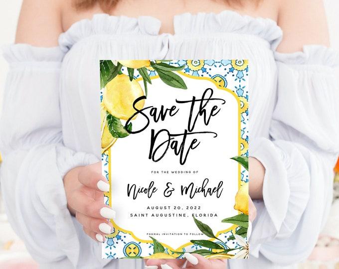 Rustic Lemon Save the Date Template, DIY Lemon Blue Wedding Save the Date Card, Wedding, Printable, Editable, Instant Download, Templett, L1